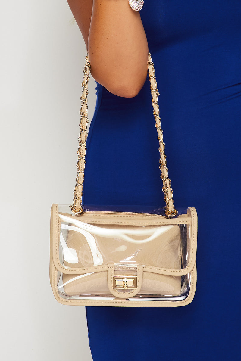 Clear Crossbody Handbag-BEIGE - Fashion House USA