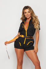 Zip Up Belted Cargo Romper - Fashion House USA