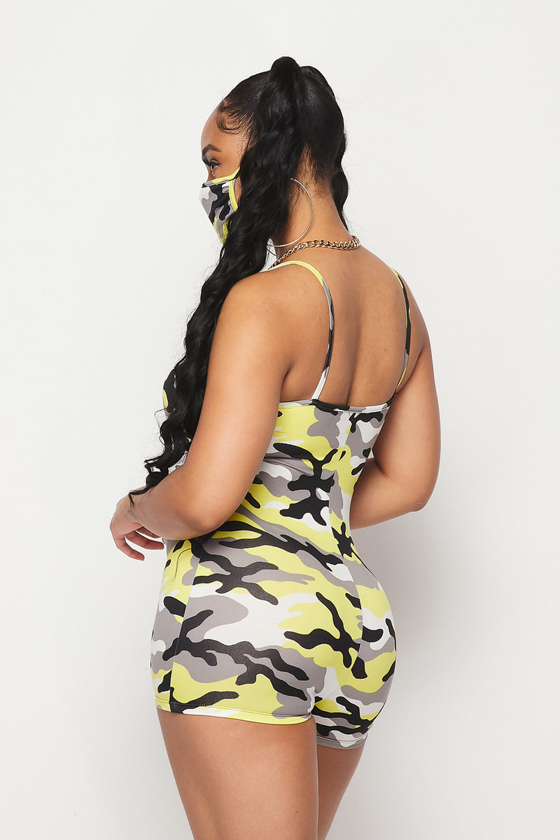 Yellow Camo Stretch Romper w/Mask Set - Fashion House USA