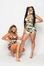 Neon Orange Camo Stretch Romper w/Mask Set - Fashion House USA