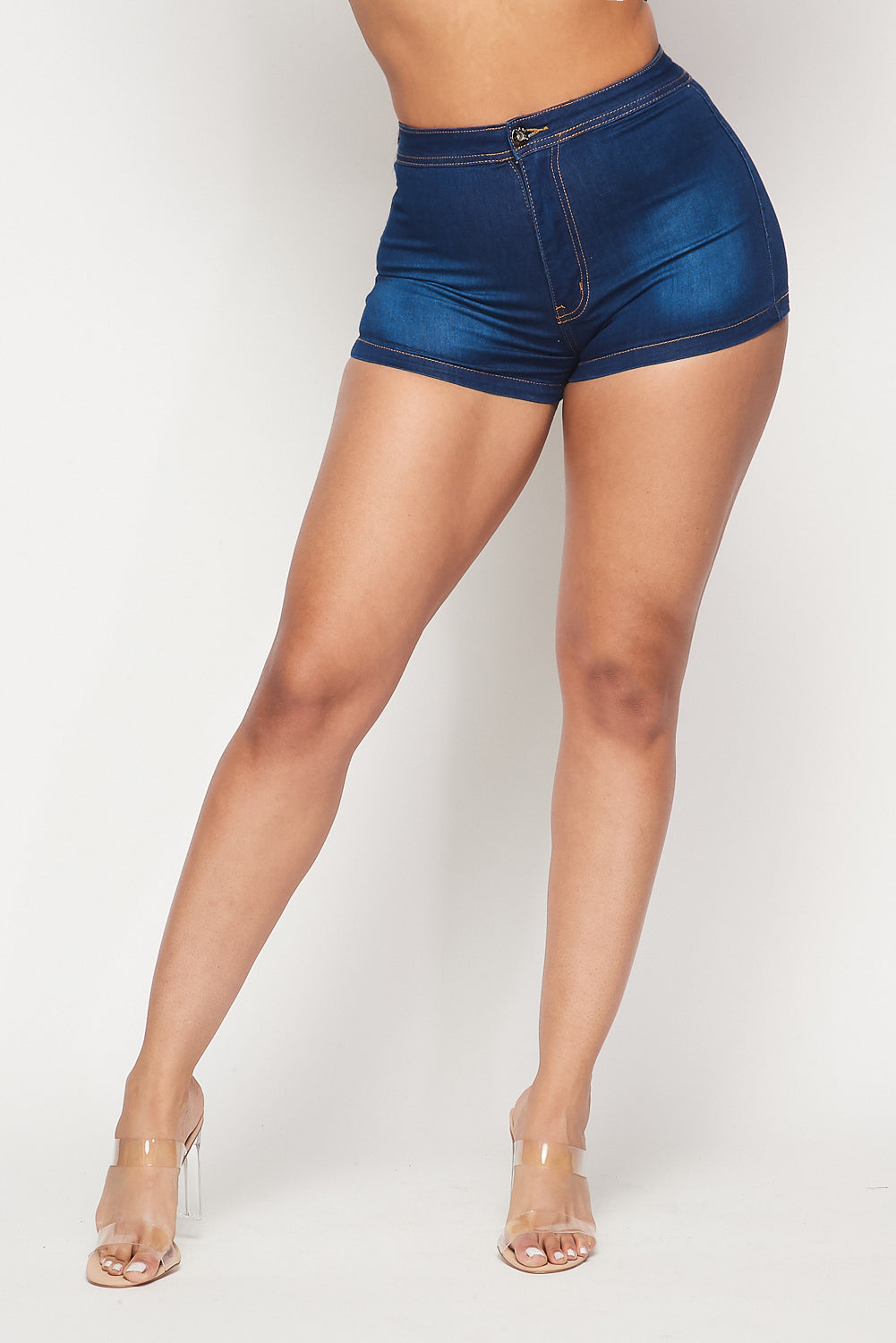 High Waist Stretch Denim Shorts - M.Blue - Fashion House USA