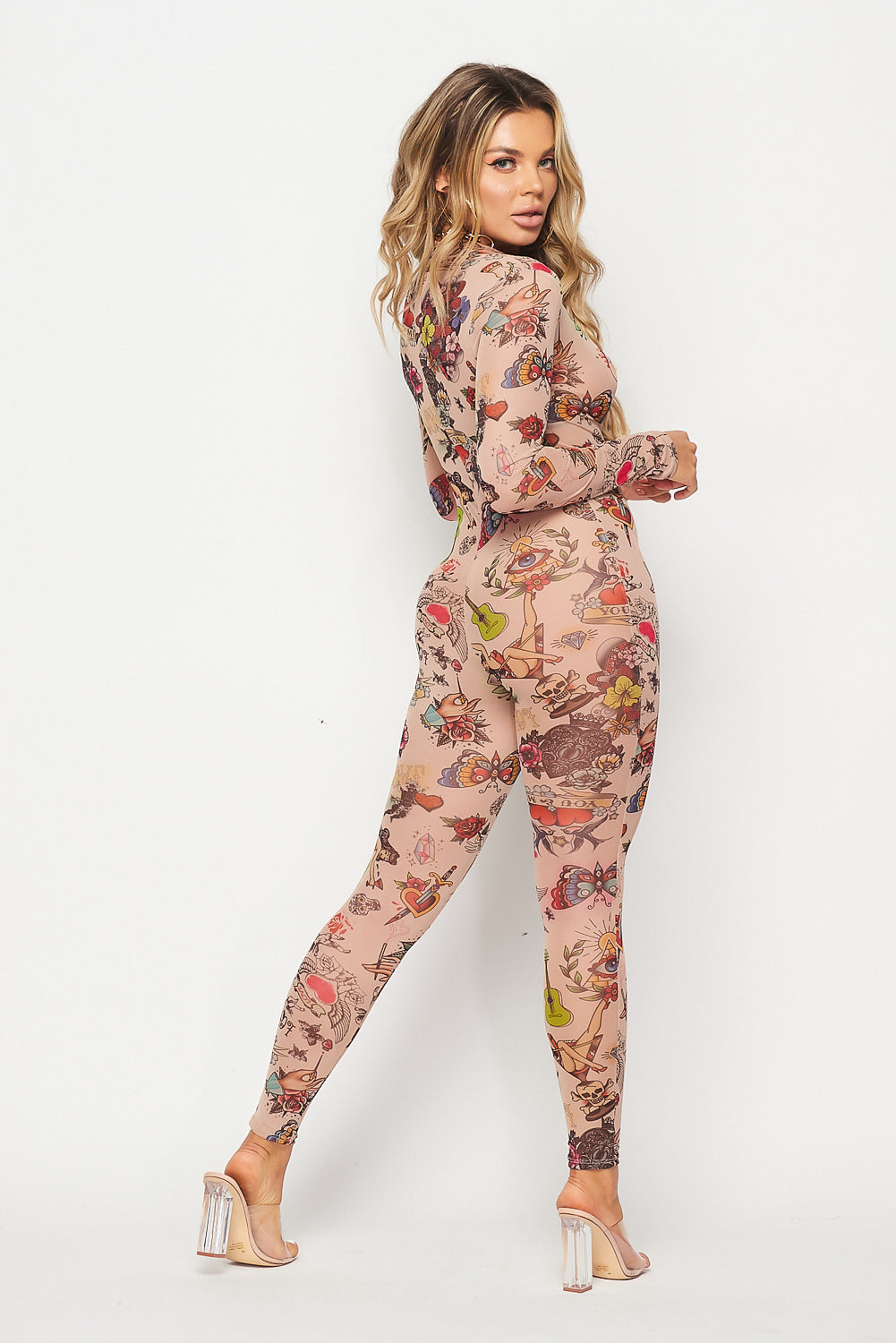 Stretch Mesh Zip-Up Print Jumpsuit - Fashion House USA