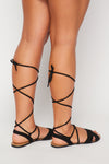 Faux Suede Lace Up Sandal - Fashion House USA
