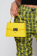Rebel Studded Faux Leather Handbag -YELLOW - Fashion House USA