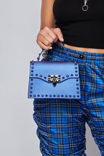 Rebel Studded Faux Leather Handbag -ROYAL - Fashion House USA