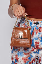 Mini Clutch W/ Oversized Chain And Lock-CAMEL - Fashion House USA