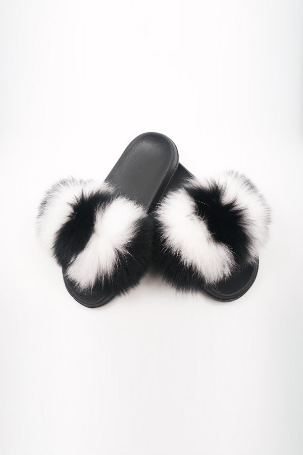 Sexy Open toe Faux Fur Flats in White, Black, White - Fashion House USA
