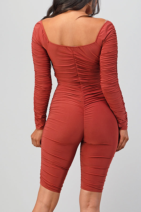 Sexy Ruched Stretch Biker Romper-BRICK