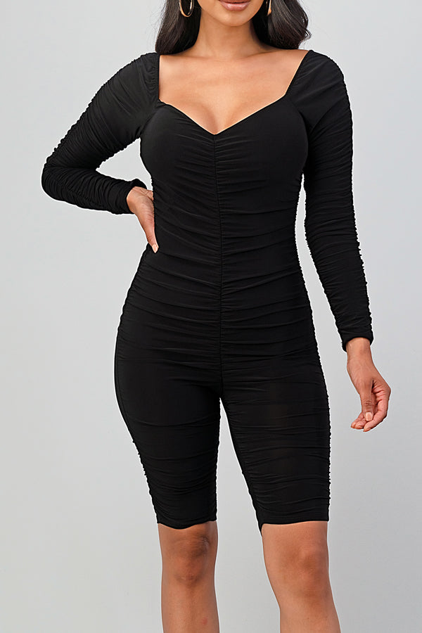 Sexy Ruched Stretch Biker Romper-BLACK - Fashion House USA