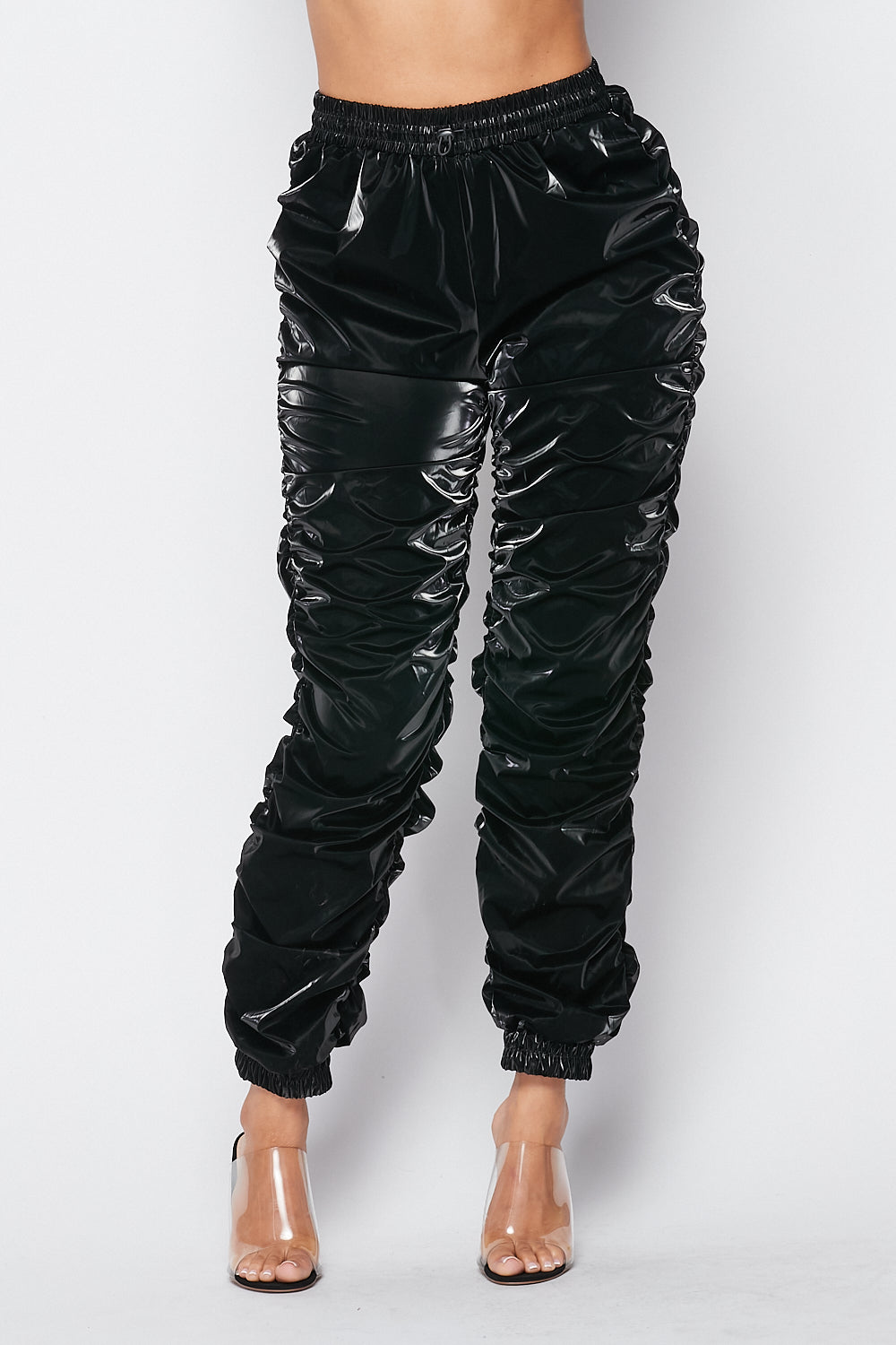 Whats Poppin Ruched PU Pants in Black - Fashion House USA