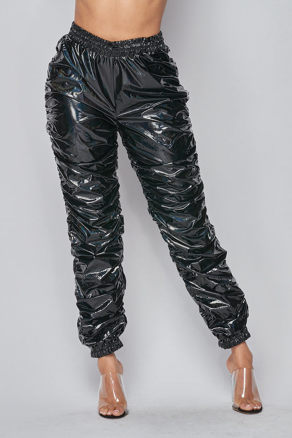 Whats Poppin Ruched PU Pants in Dark Grey/Holographic - Fashion House USA