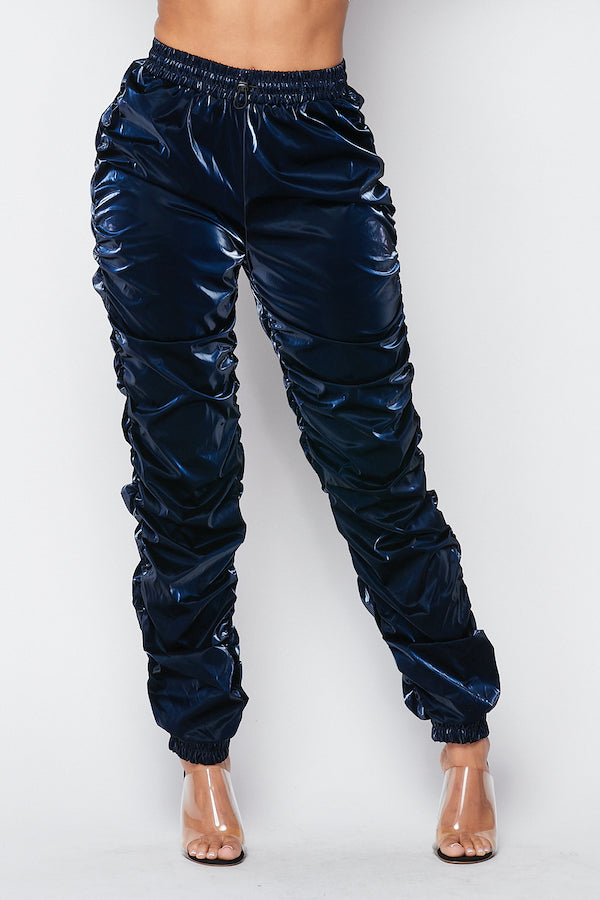 Whats Poppin Ruched PU Pants in Navy - Fashion House USA
