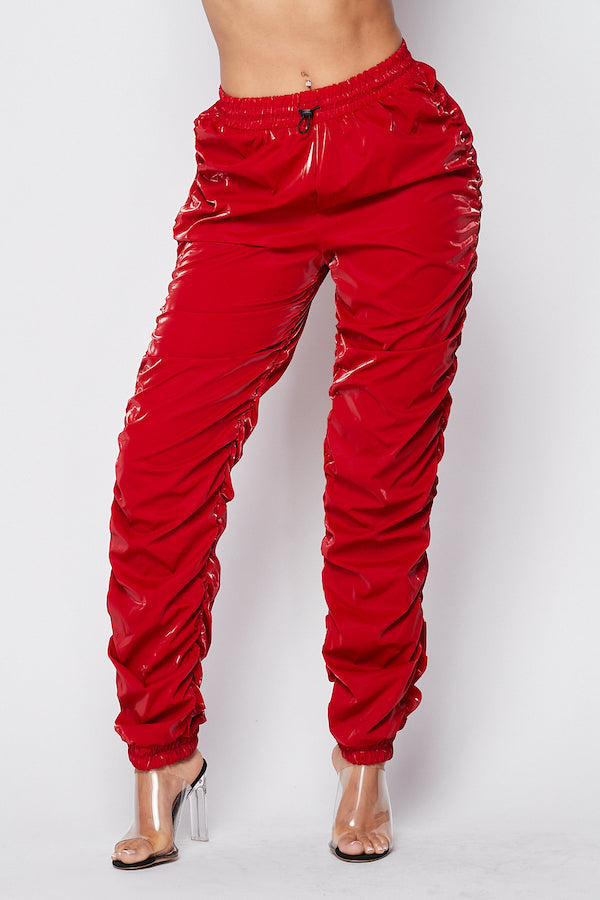 Whats Poppin Ruched PU Pants in Dark Red - Fashion House USA