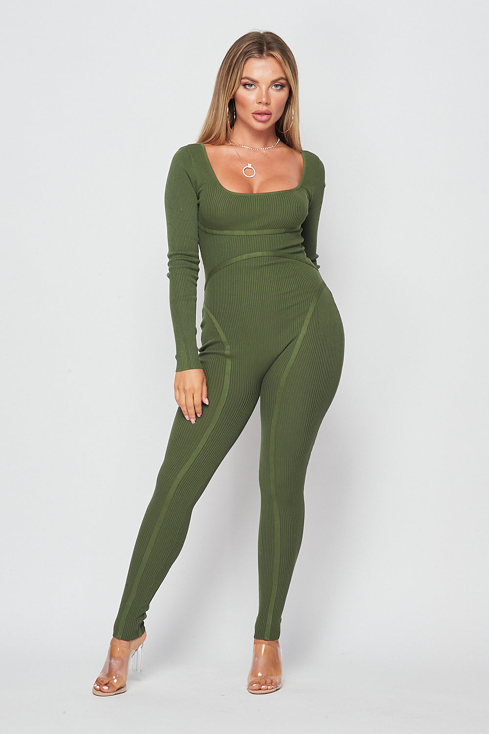 Chic Knit Long Sleeve Jumpsuit-OLIVE - Fashion House USA