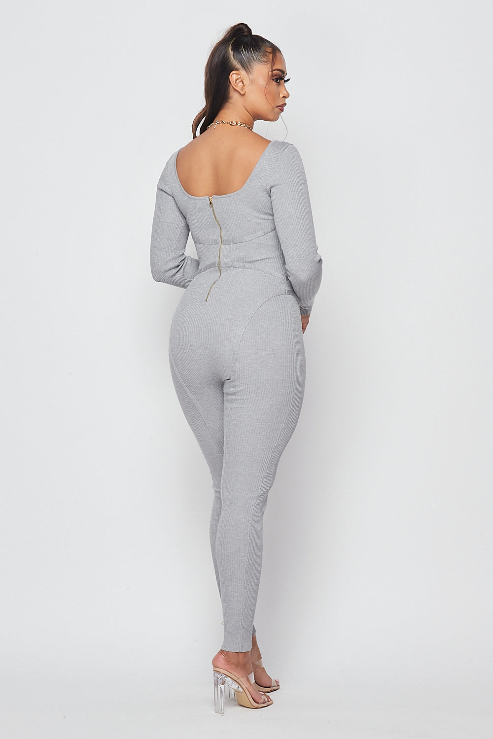 Chic Knit Long Sleeve Jumpsuit-H. GREY - Fashion House USA