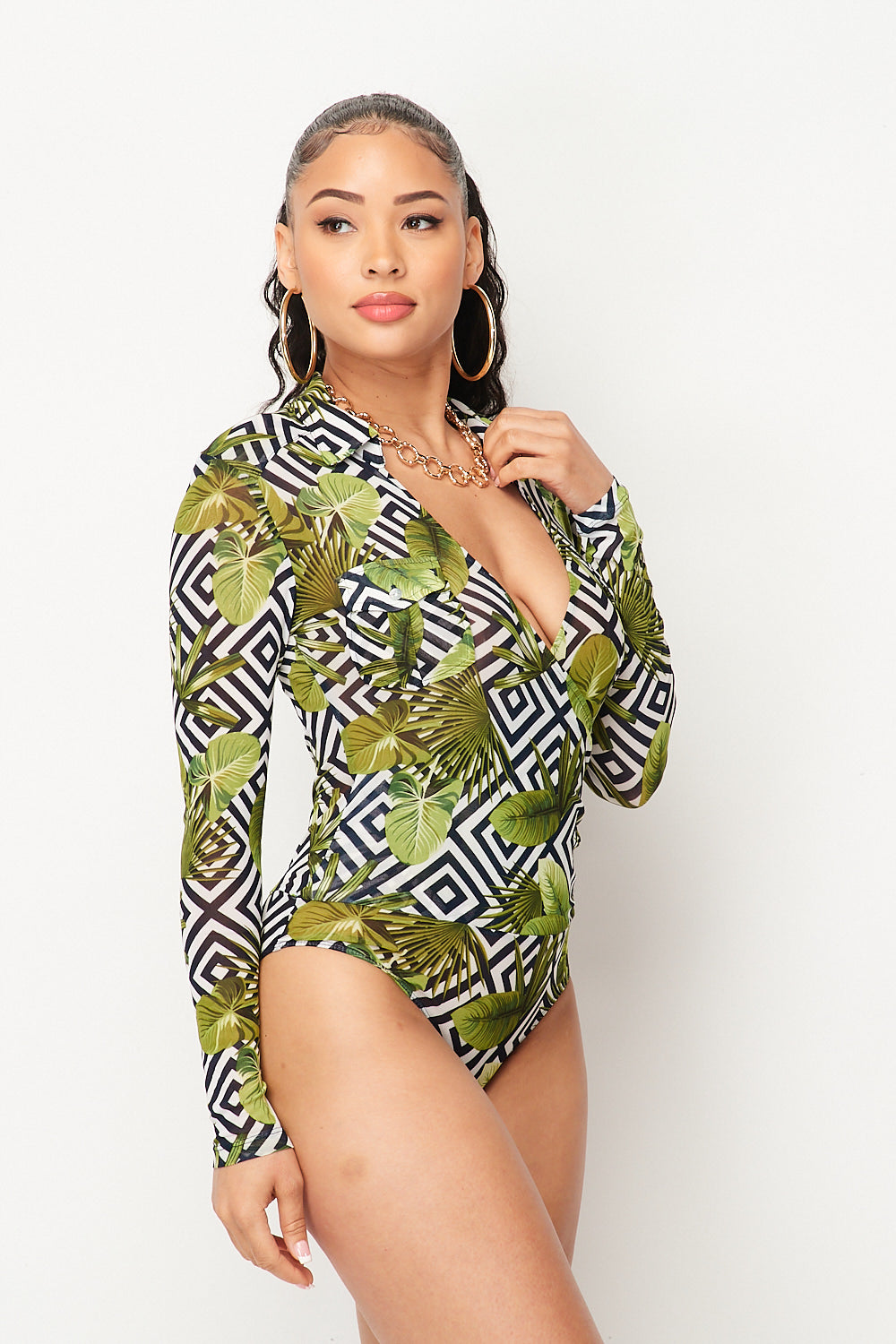 Pina Colada Tropical Surplice Long Sleeve Bodysuit in Black - Fashion House USA