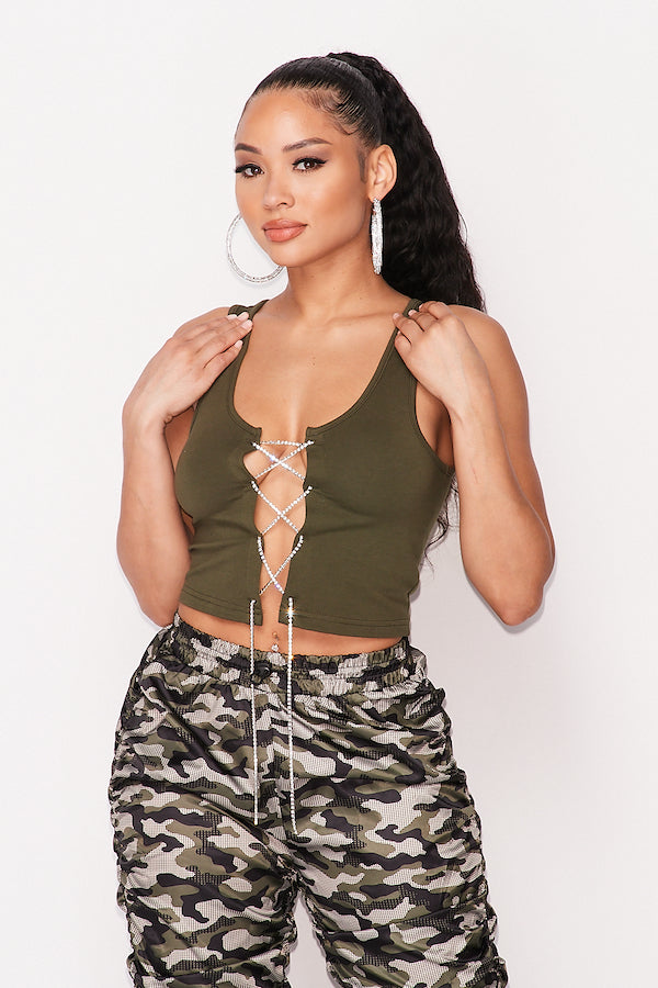 Rhinestone Lace Up Tank Top in Olive
