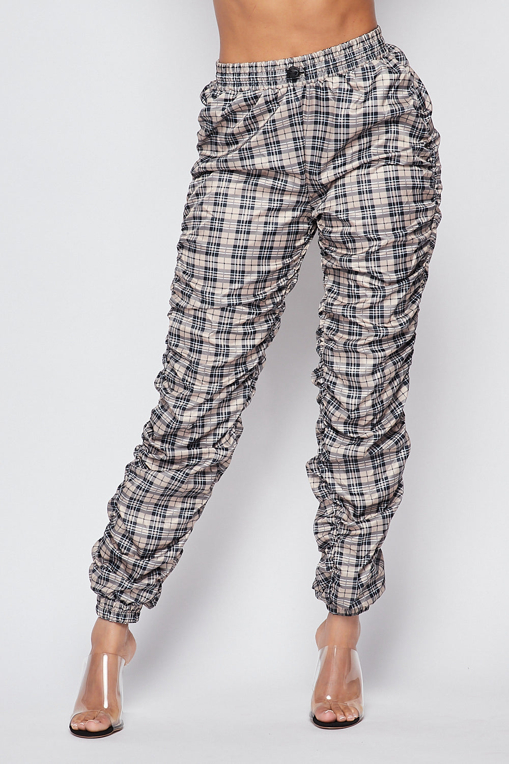 Sexy Checkered Ruched Fitted Jogger Pants - Fashion House USA