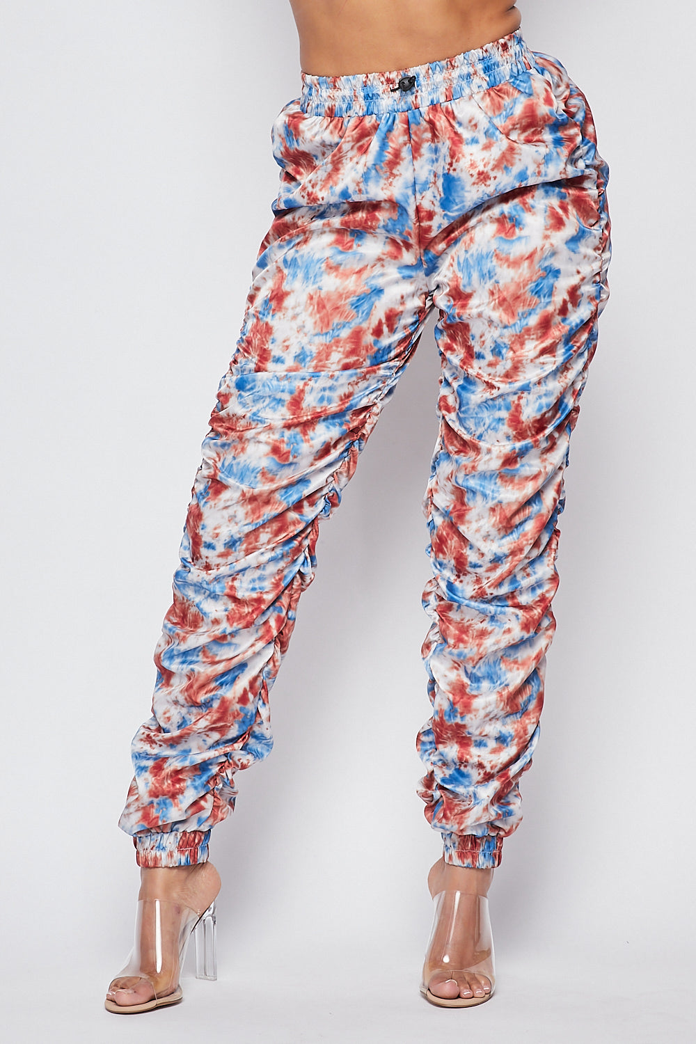 Sexy Tie Dye  Ruched Fitted Jogger Pants - Fashion House USA