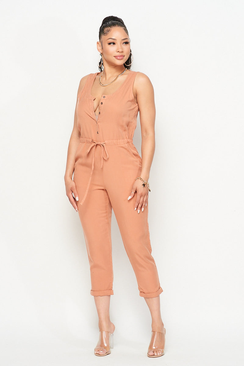 Sleeveless Front Button Capri Jumpsuit in Terra Cotta - Fashion House USA