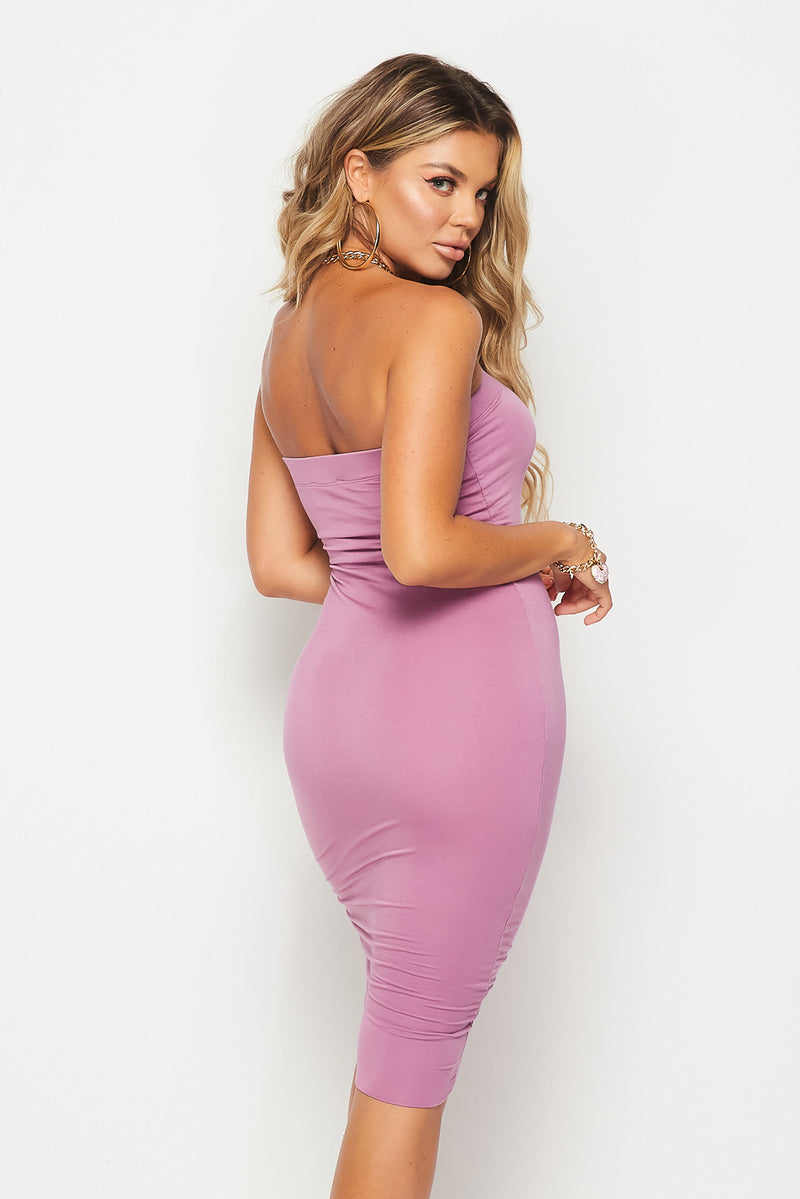 Super Stretch Lined Midi Dress - Fashion House USA