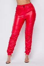 Sexy PU High Waist Ruched Pants-PU RED - Fashion House USA