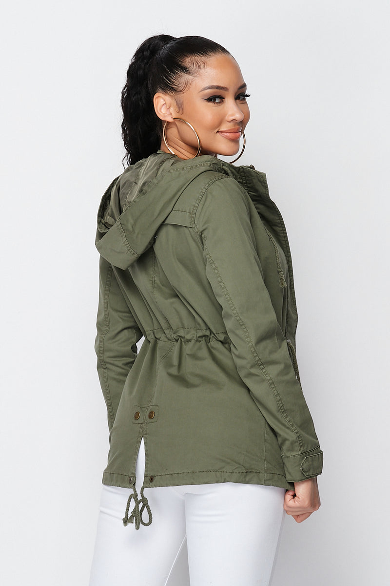Solid Zipper Safari Jacket in Olive - Fashion House USA