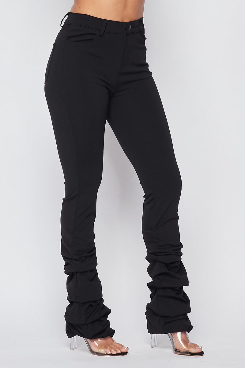 Sexy Solid High Waist Scrunched Bottom Pants-BLACK - Fashion House USA
