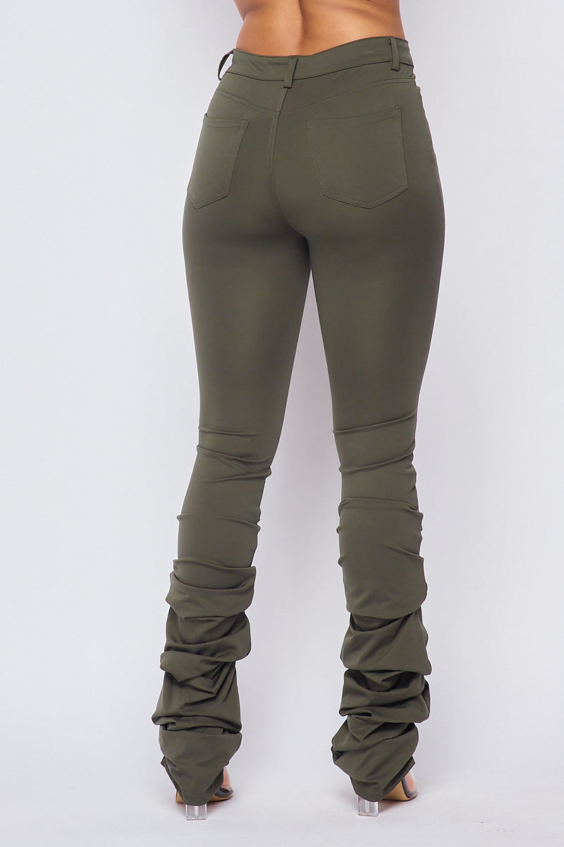 Sexy Solid High Waist Scrunched Bottom Pants-OLIVE - Fashion House USA
