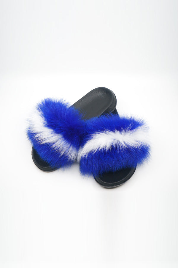 Sexy Open toe Faux Fur Flats in Royal Blue and White - Fashion House USA