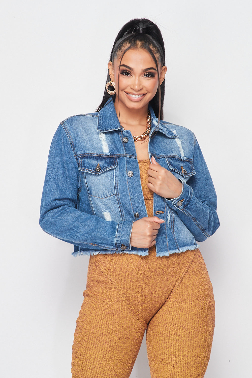Crop Washed Distressed Denim Jacket - Fashion House USA