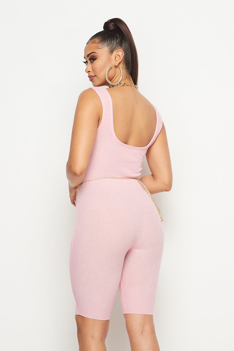 Stay Cozy Biker Short  Romper-PINK - Fashion House USA
