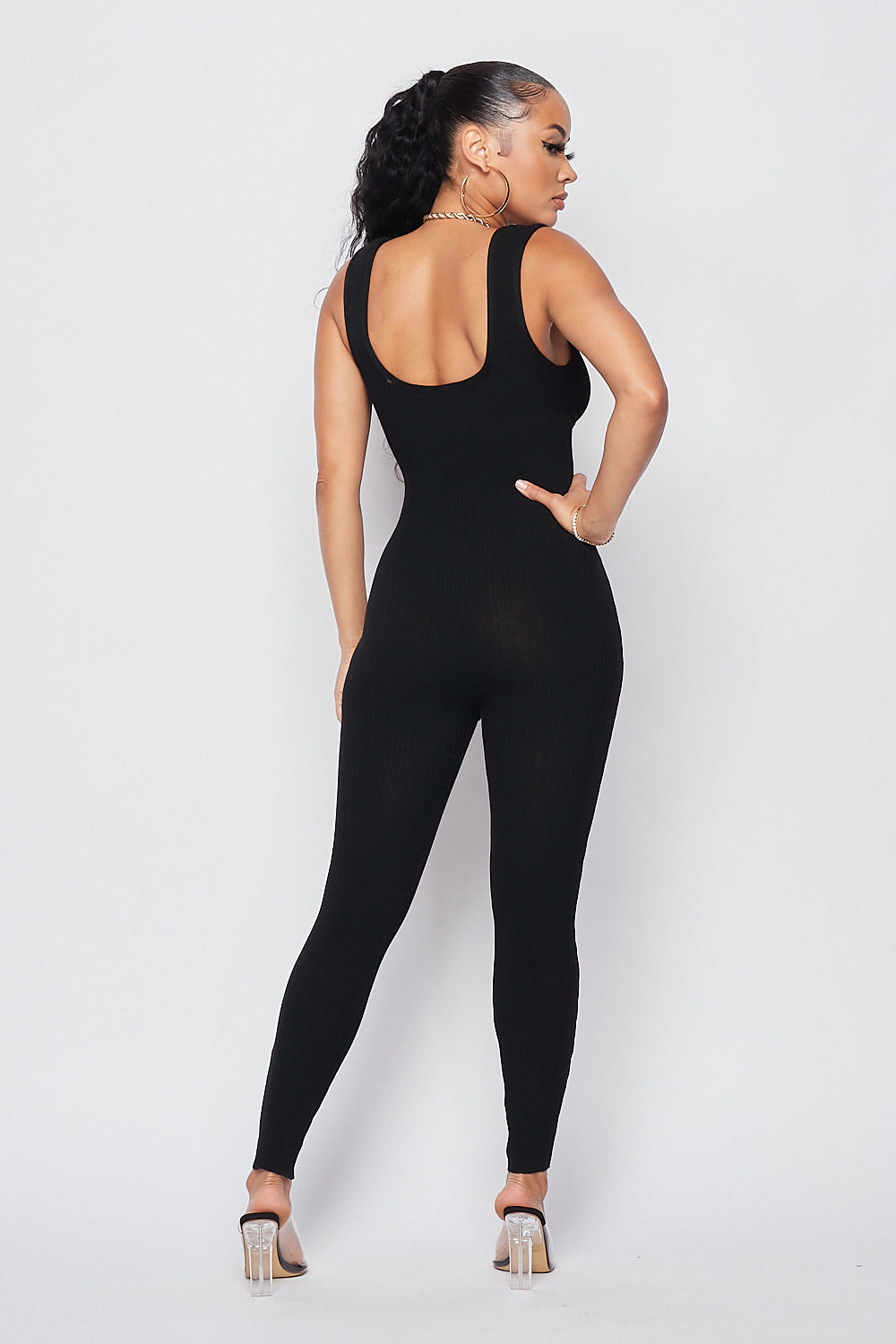 Hold Me Knit Jumpsuit-BLACK - Fashion House USA