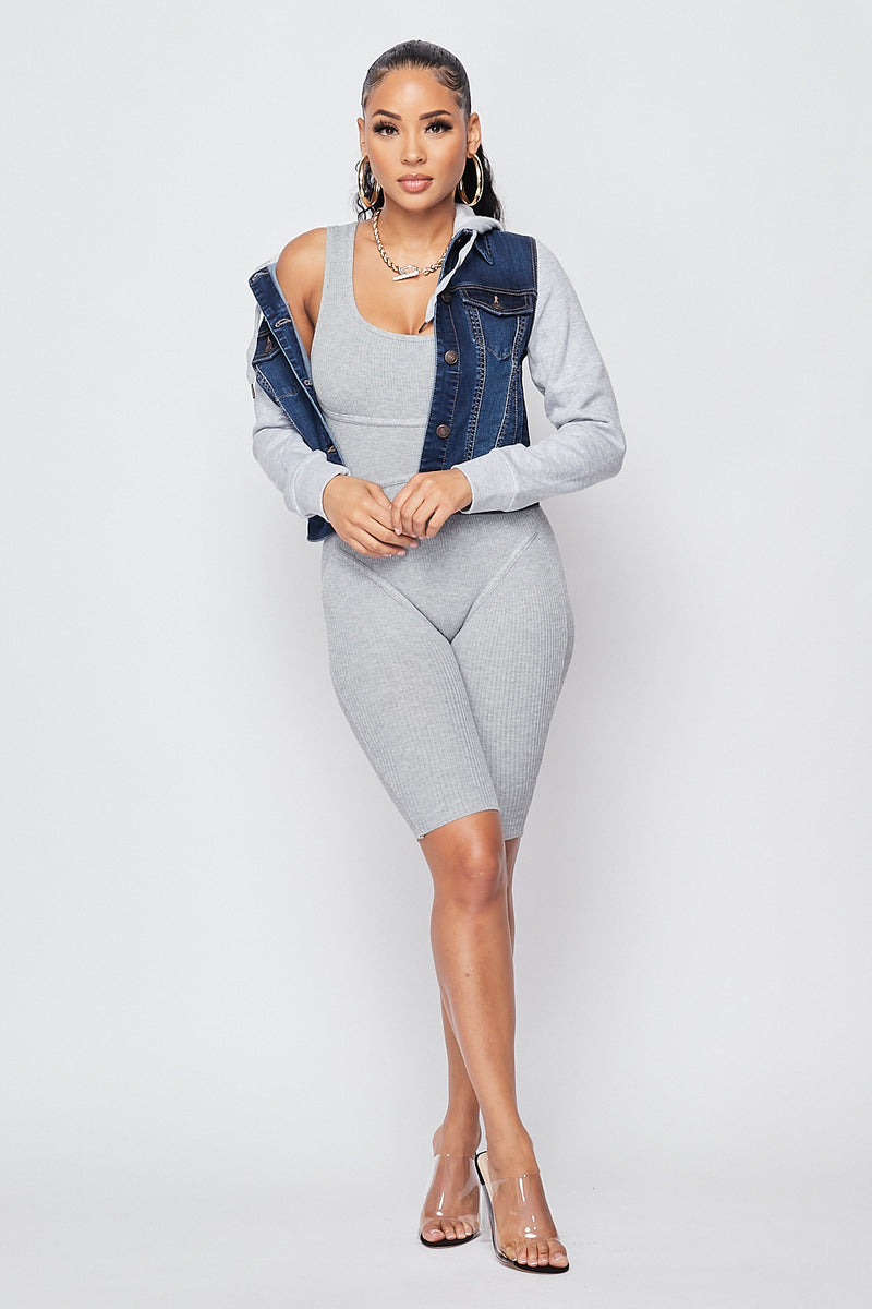 Sexy Hooded Denim Jacket-DARK BLUE - Fashion House USA