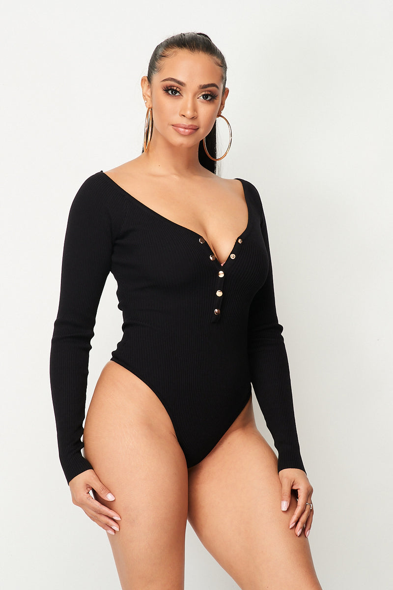 Ribbed Knit Long Sleeve Snap Button Front Deep V-Neck Bodysuit in Black - Fashion House USA