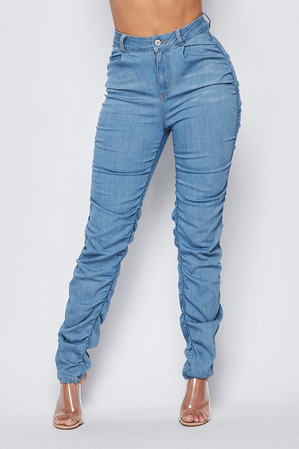 Must Have High Waist Scrunched side Jeans-Light Wash - Fashion House USA