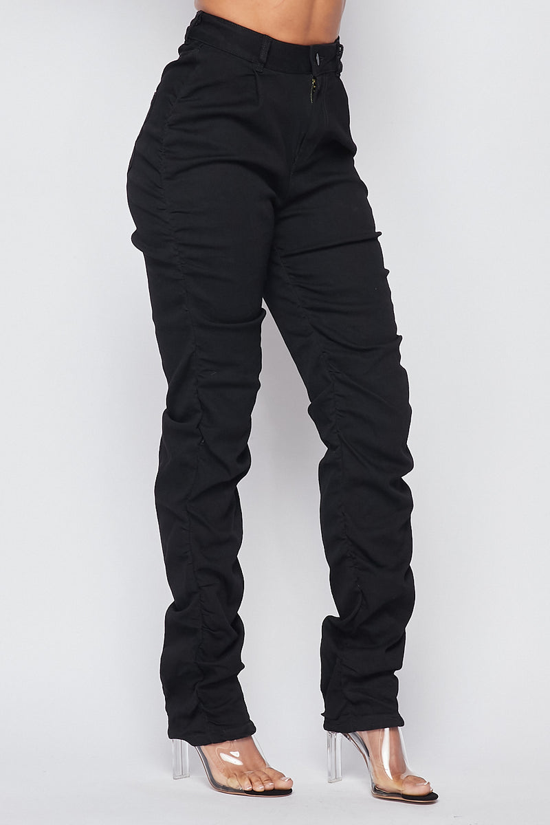 Must Have High Waist Scrunched side Jeans-Black - Fashion House USA
