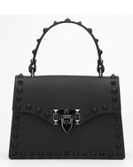 Rebel Studded Faux Leather Handbag -BLACK - Fashion House USA