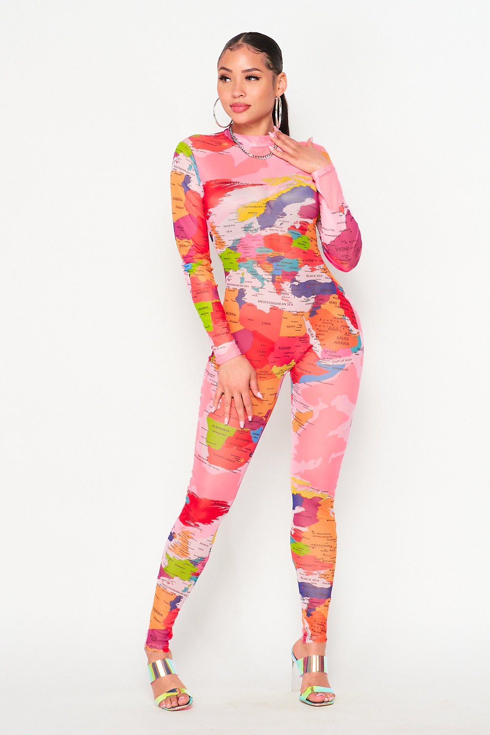 Miss International Map Jumpsuit in Pink - Fashion House USA