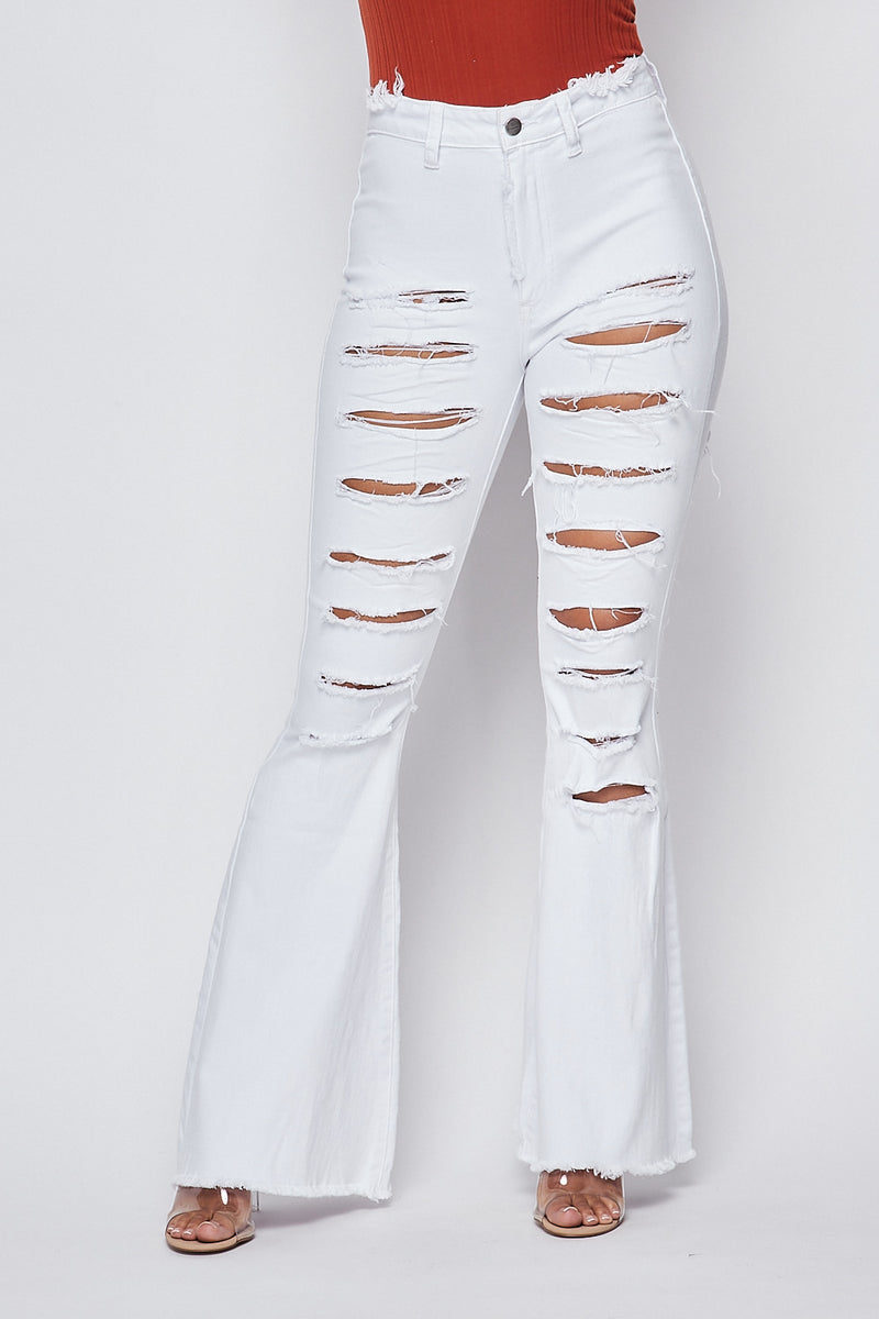 Sexy High Waist Distress Cutout Jeans-WHITE - Fashion House USA