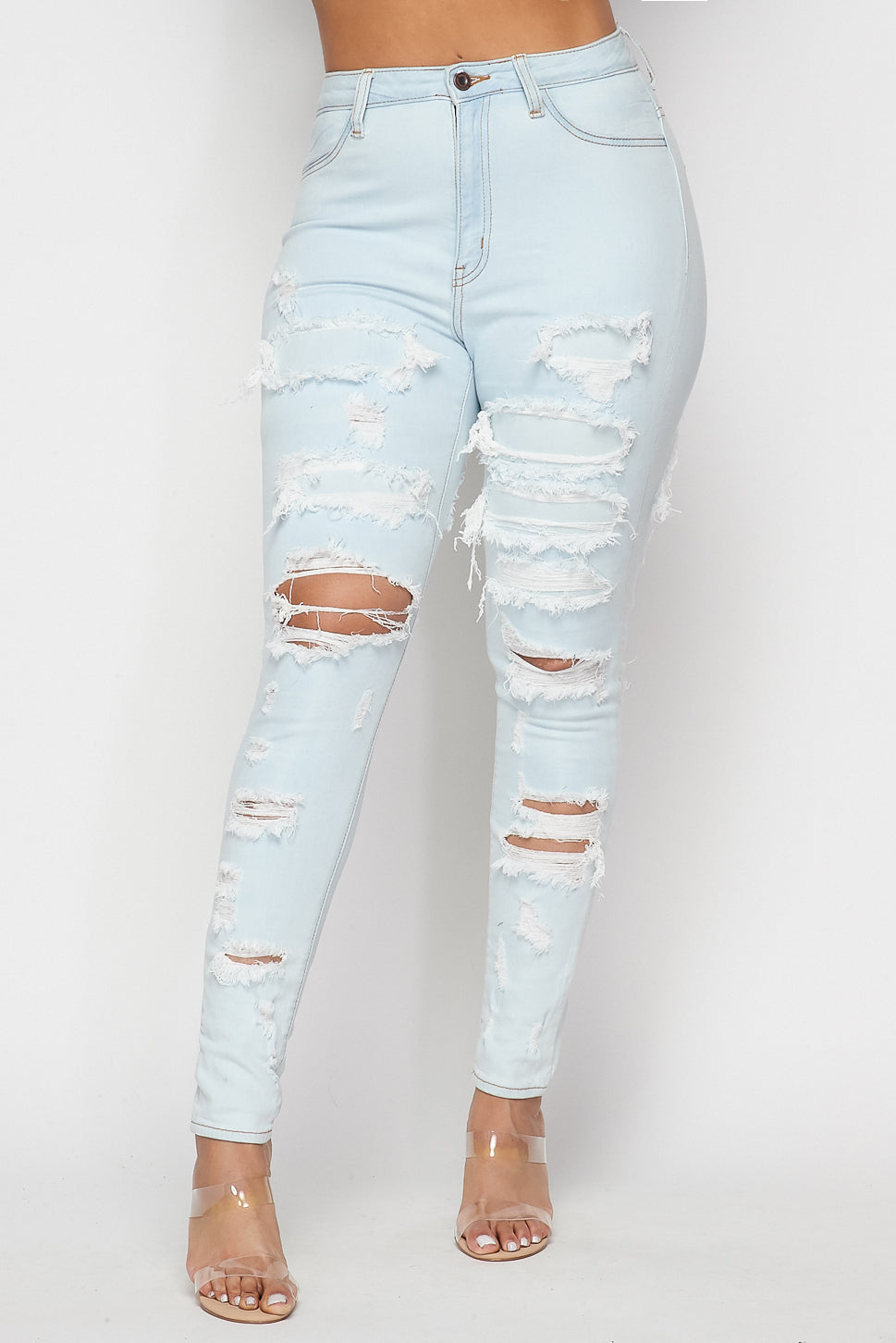 High Waist Distressed Skinny Jeans - Fashion House USA
