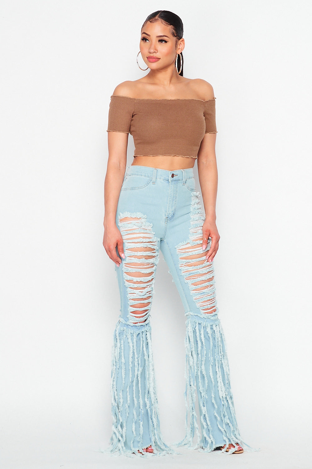 High Waist Destroyed Flare Leg Jeans with Fringe Detail in Light Blue