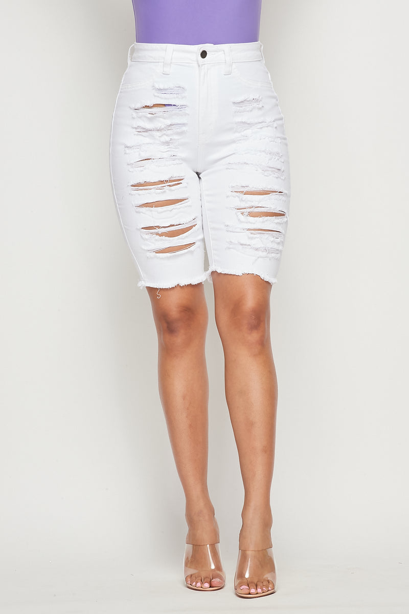 Super Stretch High Waist Distressed Bermuda Shorts - Fashion House USA