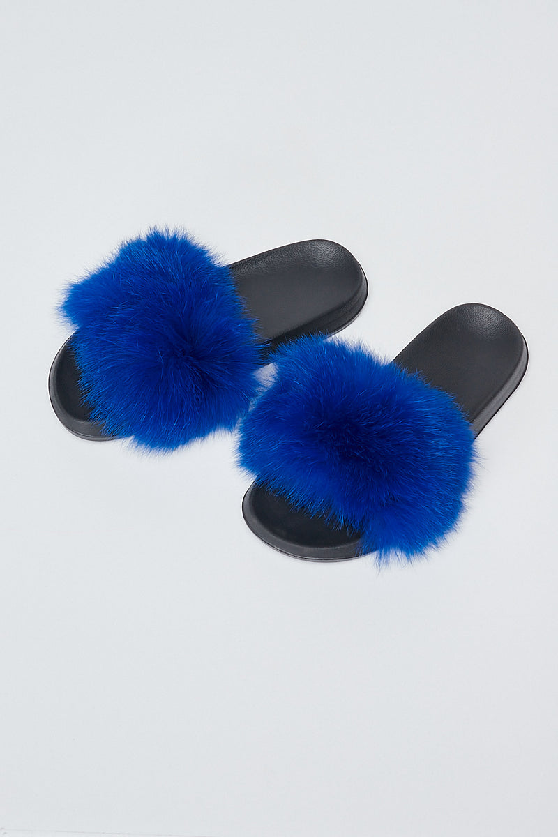 Sexy Open toe Faux Fur Flats-ROYAL BLUE - Fashion House USA