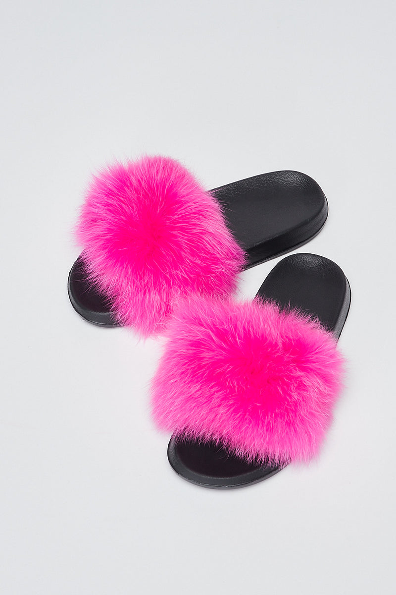 Sexy Open toe Faux Fur Flats-FUCHSIA - Fashion House USA