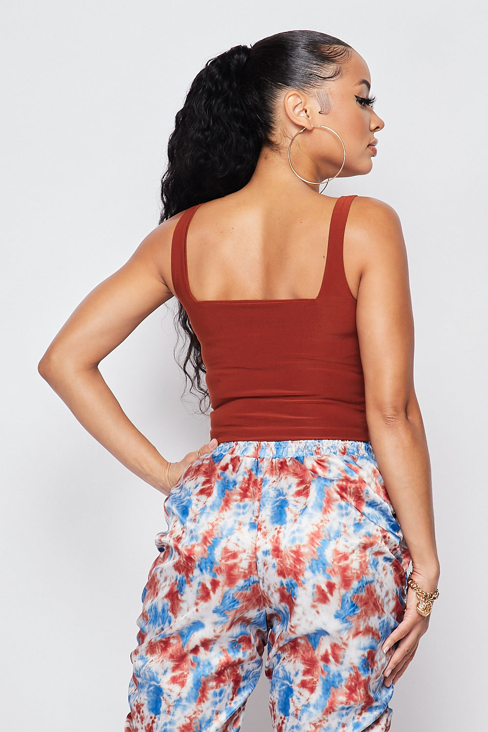 Sexy Double Layer Square Neck Crop Top-RUST - Fashion House USA