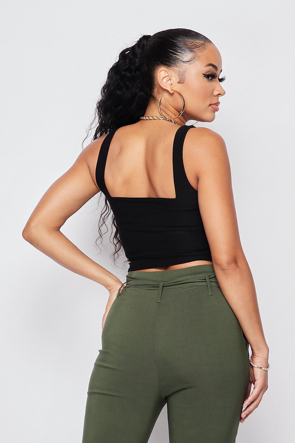 Sexy Double Layer Square Neck Crop Top-BLACK - Fashion House USA