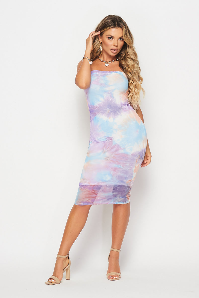 Tie-Dye Mesh Tube Dress - Fashion House USA