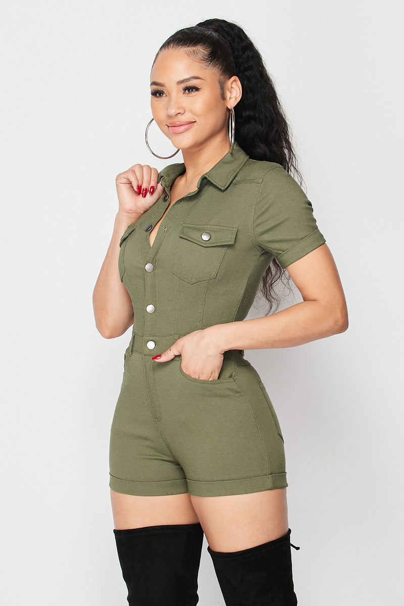 Sexy Button up Romper in Olive - Fashion House USA