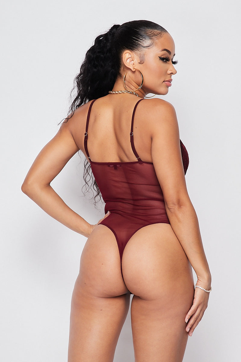 Sexy Cami Bustier Bodysuit-BURGUNDY - Fashion House USA